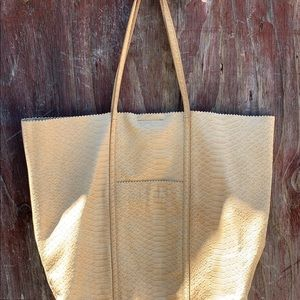 Banana Republic Embossed Leather Tote Camel